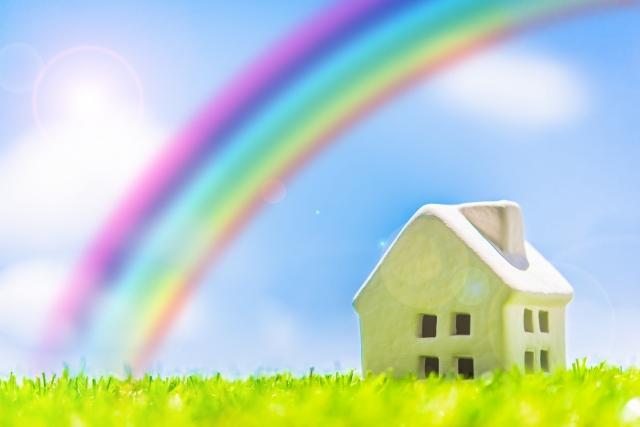老人ホーム入所決定の祝福の虹